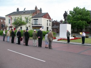 Steve Williams leads the ceremony to remember the Chorley Pals who went over the top exactly 94 years ago.