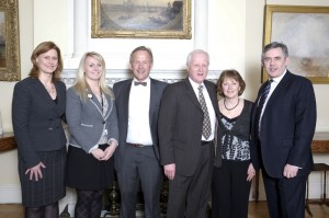 Left to right : Sarah Brown, Stephanie Driver from Lindsay Hoyle's Parliamentary Office, Raymond Smith, Steve Williams, Pam Williams and Prime Minister, Gordon Brown.