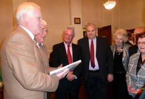 Steve & John present their book to Simon Wellerd (third left) watched by Civic Society members