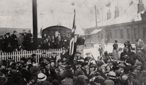 The Chorley Pals arrive at the railway station, 23 Feb 1915