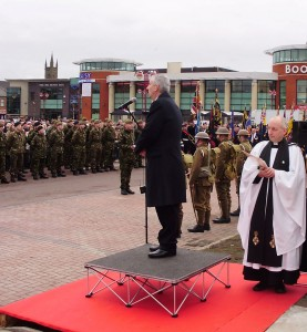 Rev. Tim Wilby at the unveiling of the Chorley Pals Memorial in 2010