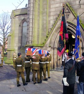 WO2 Markland's coffin is carried into St. George's Church