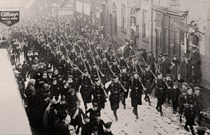 The Chorley Pals march to the station, 23rd February 1915