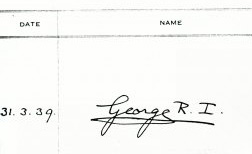 George VI's signature in the site visitor's book