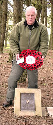 Steve Williams laying a wreath at the Chorley pals memorial at Serre