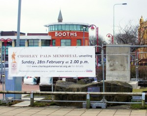 The newly-erected banner at the construction site in Chorley