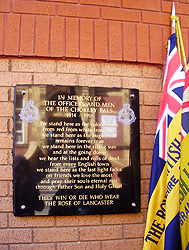 The plaque erected by the Royal British Legion on the wall of Booths Supermarket in Chorley