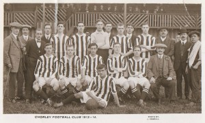 Chorley FC 1913-14. Arthur is seated third from the right (click to enlarge)