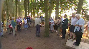 The group at the Accrington Pals memorial at Serre