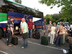 Members of the party preparing to depart