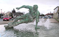 The statue of Sir Tom Finney created by Peter Hodgkinson at the National at the National Football Museum in Preston.