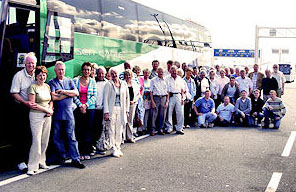 The coach party at Calais at the end of the Serre 2008 trip