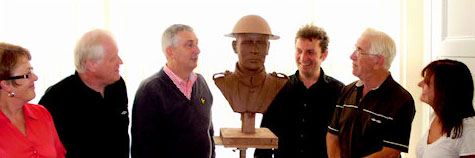 The Chorley Pals Memorial Trustees preview the top of the new statue