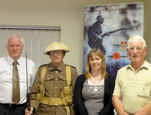 Steve Williams (left) and Terry Seed, is joined by Nikki Davidson-Kerr from the Chorley Remembers Project and Chorley Pals Memorial Trustee, John Garwood