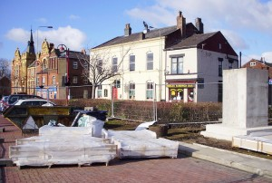 The stones for the plinth have arrived in Chorley